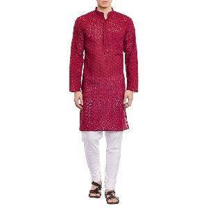 Mens Embroidered Cutwork Cotton Kurta With Churidar Pajama