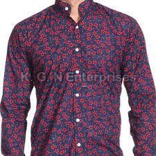 Mens Printed Chinese Collar Shirt