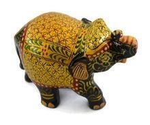 Handmade Kadam Wood Miniature Style Baby Elephant Statue