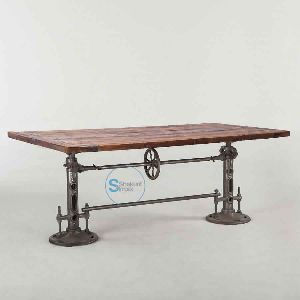 Vintage Industrial Cast Iron Double Crank Mechanism Dining Table