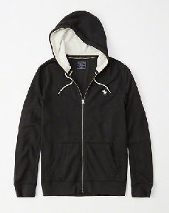 Mens Black Zipper Hoodie Jacket