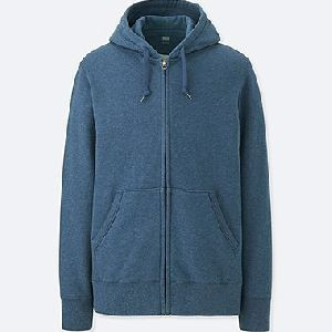 Mens Zipper Blue Hoodie Jacket