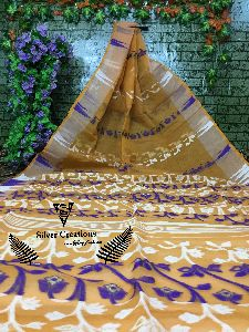 Pure Handloom Cotton Tant Sarees With Floral Jamdani All Over