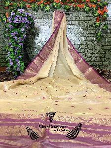 Pure Tussar Silk Sarees With Heavy Zari Borders Butta Weaving
