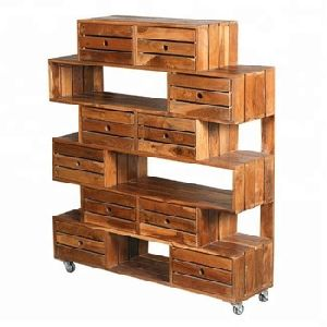 solid mango wood display rack with drawers and wheels
