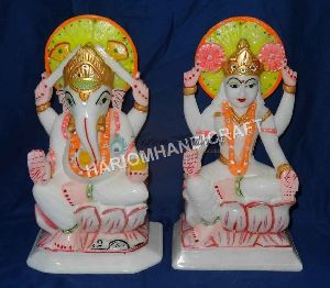 Albastore Marble Laxmi Ganesh God Statue