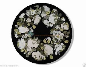 Black Marble Side Coffee Table Top Hand Painted Floral Mosaic