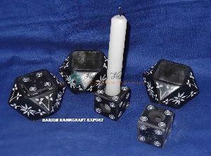 Black Stone Candle Stand Agarbatti Stand