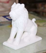 Italian White Stone Marble Lion Sculpture Art Decor
