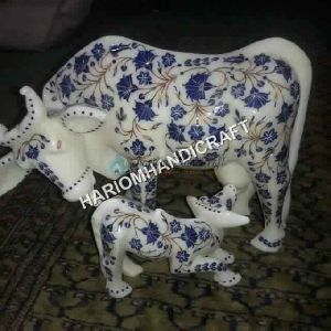 Marble Cow And Calf Statue Lapis Lazuli Stone Inlay Work