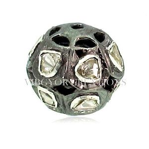 Solid Sterling Silver Rosecut Diamond Bead