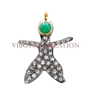 925 Sterling Silver Charm Gemstone Emerald 14k Gold Pave Diamond Pendant Jewelry
