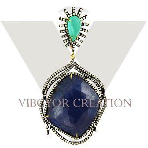 Hanging 925 Silver Emerald Tanzanite Gemstone Pave Diamond Pendant Gold Jewelry