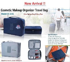 Blue Polyester Cosmetic Make Up Travel Bag