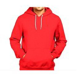 Mens Cotton Full Sleeve Red Hooded T-shirt