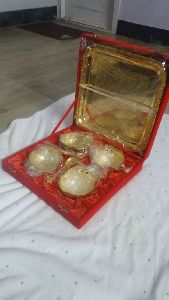 Silver And Gold Plated Brass Bowl And Tray Set