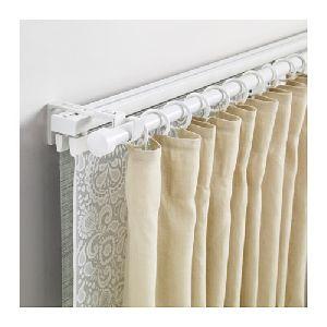 White Aluminum Traverse Curtain Rod