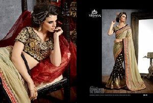 Saree On Net Foil Pallu With Heavy Embroidery Border
