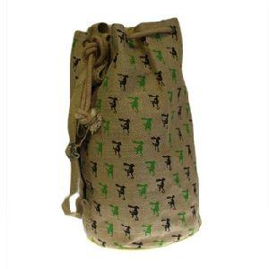 Printed Jute Duffle Bag Duffel