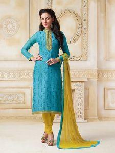 Blue Colored Banarasi Chanderi Suit