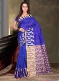 Blue Colored Banarasi Silk Saree