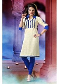 Classy Off White Color Floral Embroidery Worked Khadi Cotton Kurti.