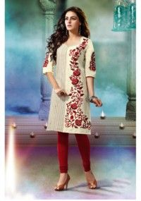 Fancy Cream Color Floral Embroidery Worked Khadi Cotton Kurti