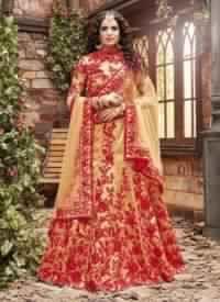 Golden Colored Pure Silk Bridal Lehenga