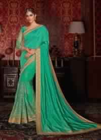 Green Colored Art Silk And Net Designer Saree