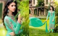 Light Green Colored Georgette Salwar Suit.