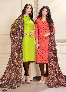 Parrot Green And Pink Colored Cotton Butti And Chanderi Salwar Suit.
