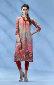 Pink Colored French Crepe Printed Kurti