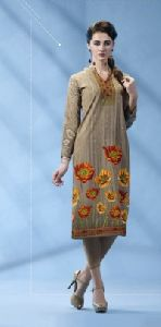 Teal Grey Colored French Crepe Printed Kurti