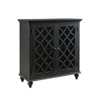 Contemporary Vintage Style Wooden Dining Room Furniture Two Glass Doors Sideboard