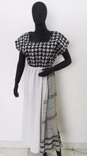 Black White Latest Cotton Linen Dress