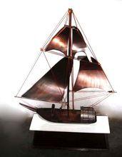 Bronze Finish Metal Floating Sailing Boat