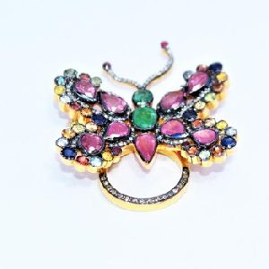 Diamond Ruby Gold Plated Antique Ring Pendant Brooch
