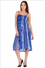 Women's Georgette A-line Designer Blue Dress