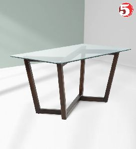 Lavish Glass Top Wooden Dining Table