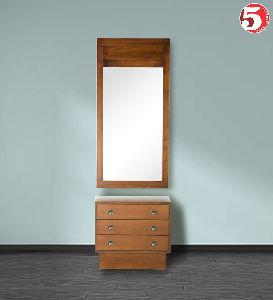 Stylish Mirror With Wooden Cabinet