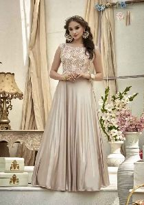 Beige Colour Jacquard Embroidered Stitched Gown