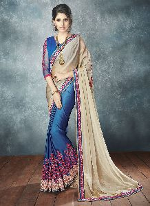 Blue Colour Chiffon Embroidered Saree