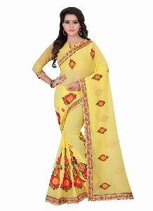 Chiffon Yellow Embriodery Saree With Unstitched Blouse Piece