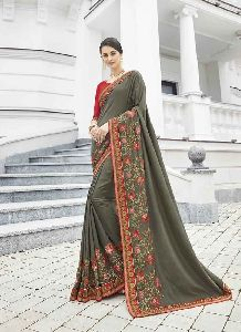 Olive Colour Banglori Silk Embroidery Saree With Unstitched Blouse