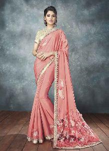 Peach Colour Satin Chiffon Embroidered Saree