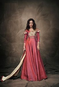 Peach Colour Tapeta Silk Anarkali Salwar Suit
