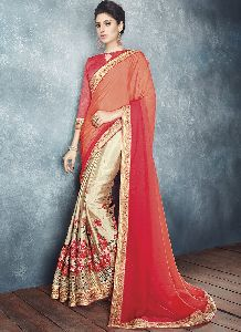 Pink And Golden Colour Chiffon Embroidered Saree