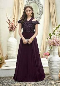 Purple Colour Jacquard Embroidered Stitched Gown