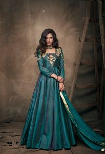 Rama Colour Tapeta Silk Anarkali Salwar Suit