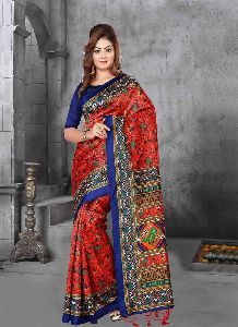 Red And Blue Colour Crepe Silk Patola Saree With Unstitched Blouse